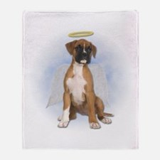 Angel Boxer Puppy Throw Blanket