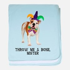 Bulldog Mardi Gras baby blanket