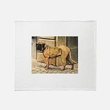 Bullmastiff Illustration Throw Blanket