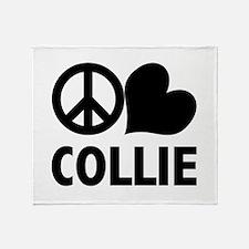 Peace Love Collie Throw Blanket