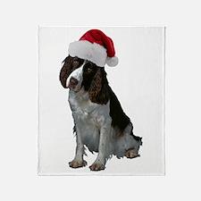 Springer Spaniel Santa Throw Blanket