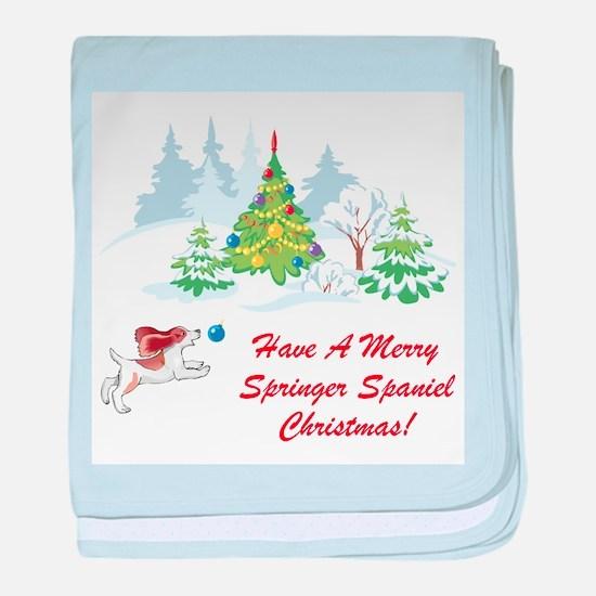 Christmas Springer Spaniel baby blanket