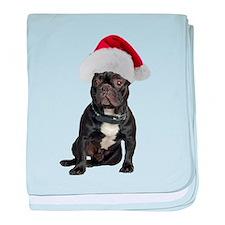 French Bulldog Christmas baby blanket