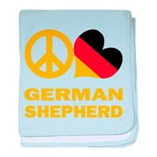 Peace Love German Shepherd baby blanket