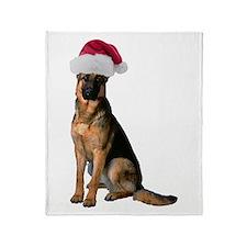 Santa German Shepherd Throw Blanket