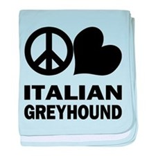 Peace Love Italian Greyhound baby blanket