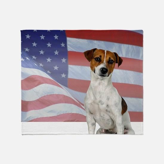 Patriotic Jack Russell Terrie Throw Blanket