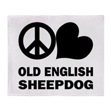 Peace Love Old English Sheepd Throw Blanket