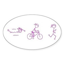 Triathlon Girl Pink No Words Decal