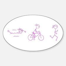 Triathlon Girl Pink No Words Sticker (Oval)