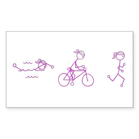 Triathlon Girl Pink No Words Sticker (Rectangle)