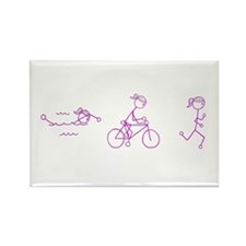 Triathlon Girl Pink No Words Rectangle Magnet