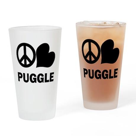 Peace Love Puggle Drinking Glass