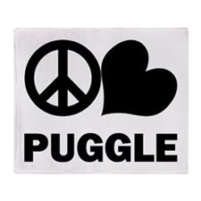 Peace Love Puggle Throw Blanket