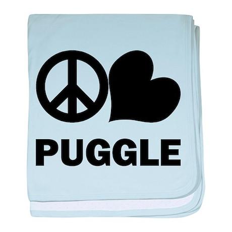 Peace Love Puggle baby blanket