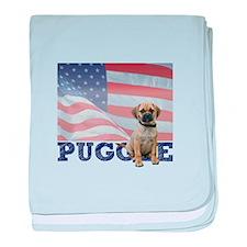Patriotic Puggle baby blanket