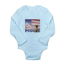 Patriotic Puggle Long Sleeve Infant Bodysuit