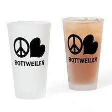 Peace Love Rottweiler Pint Glass