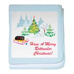 Rottweiler Christmas baby blanket