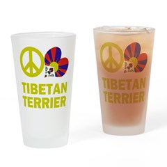 Peace Love Tibetan Terrier Pint Glass