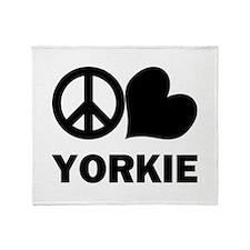 Peace Love Yorkie Throw Blanket
