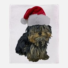 Santa Yorkie Throw Blanket