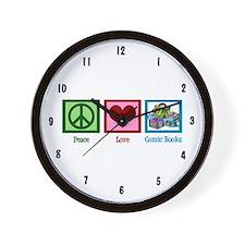 Peace Love Comics Wall Clock