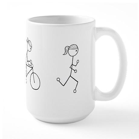 Triathlon Girl Black No Words Large Mug