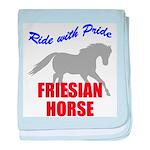 Ride With Pride Friesian Hors baby blanket