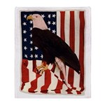 Bald Eagle and Flag Throw Blanket