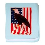Bald Eagle and Flag baby blanket