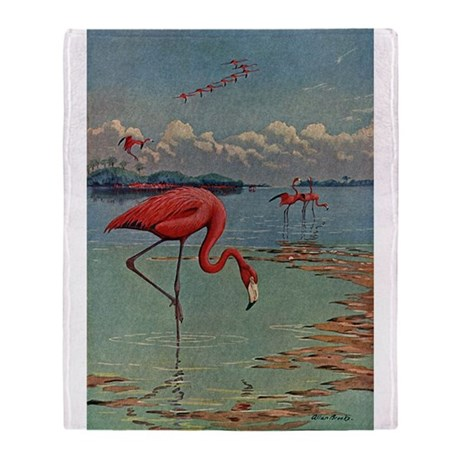 Flamingo Art Throw Blanket
