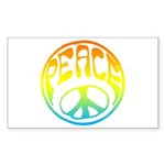 Peace - rainbow Sticker (Rectangle 10 pk)