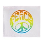 Peace - rainbow Throw Blanket