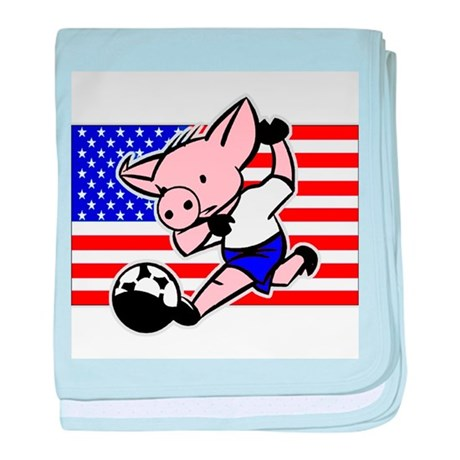 USA Soccer Pigs baby blanket