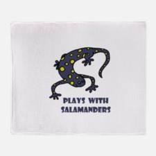 Plays With Salamanders Throw Blanket