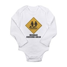Cute Mermaid crossing Long Sleeve Infant Bodysuit