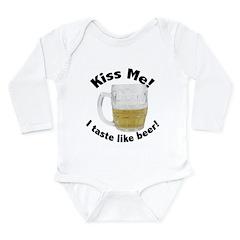 Kiss Me Beer Long Sleeve Infant Bodysuit