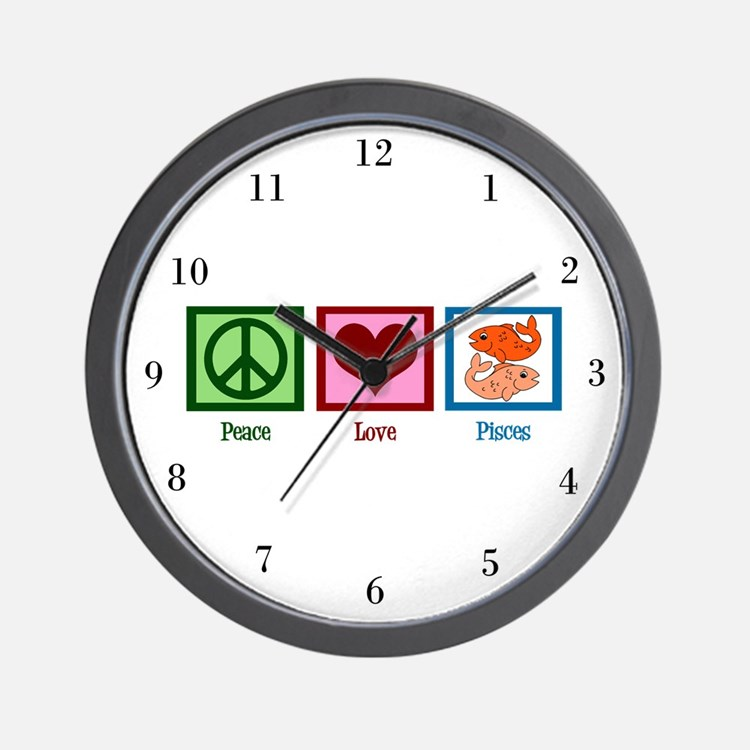 Peace Love Pisces Wall Clock
