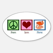 Peace Love Pisces Sticker (Oval)
