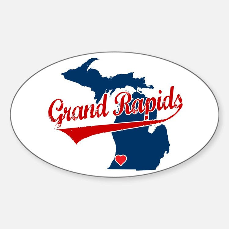 Grand Rapids, where the heart Sticker (Oval)