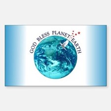 God Bless Planet Earth Rectangle Decal