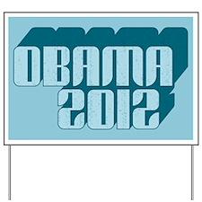 Blue Obama 3D 2012 Yard Sign