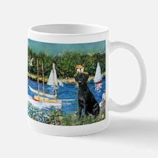 Monet's Sailboats & Black Labrador Mug