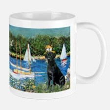 Monet's Sailboats & Black Labrador Small Small Mug