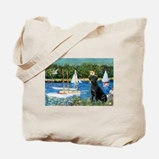 Monet's Sailboats & Black Labrador Tote Bag