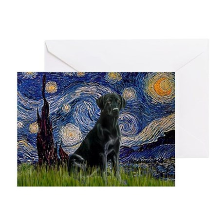 Starry Night Black Lab Greeting Cards (Pk of 10)