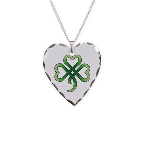Celtic Clover Necklace Heart Charm