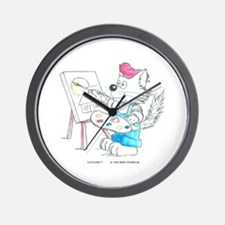 Artist Cat in Water Color Wall Clock