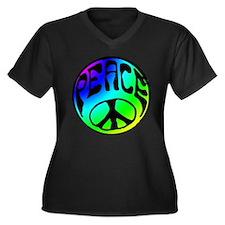 Tye Dye Peace Women's Plus Size V-Neck Dark T-Shir